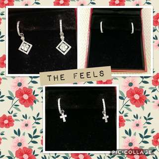 (USED) Real 18K White Gold diamond dangling earrings (2 pairs of diamond charms, 3 ways to wear, total 1.5cts)