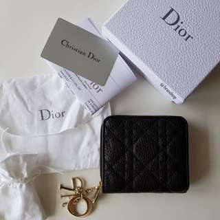 Authentic Christian Dior Black Leather Zippy Compact Wallet