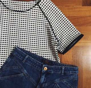 CHECKERED GRID LEATHER TRIM TOP