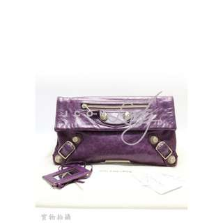 BALENCIAGA 186182 Giant Envelope 紫色 銀扣 亮面皮革 晚宴包 小手提包 手袋