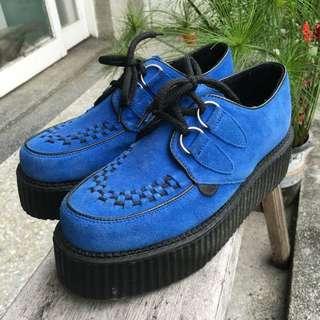 英國龐克牌Underground基本款厚底鞋-藍色麂皮