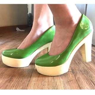 Primadonna Slightly Used Green Chunky Heels