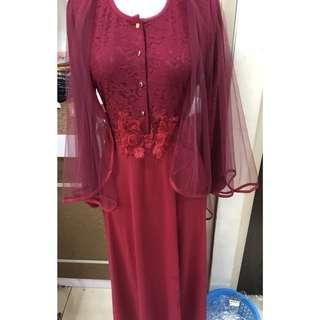 Long dress gamis brokat