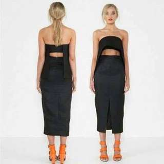 Two Piece Cutout Top and Midi Skirt