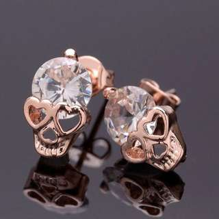 189-Rose Gold Crystal Skull Piercings