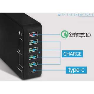 6 Ports USB Wall Charger with Qualcomm Quick Charge 3.0 Technology/Type C - S1708
