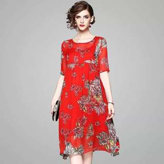 Real silk tunic loose shift flowy floral print short sleeve dress with a slip inside