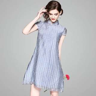 Plaid Shift waist modern cheongsam qipapo dress