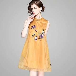 sleeveless tunic loose A line organza overlay modern improved cheongsam embroidered Qipao dress