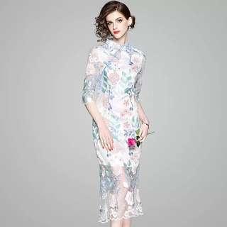 sheer floral modern modified cheongsam qipao bodycon dress