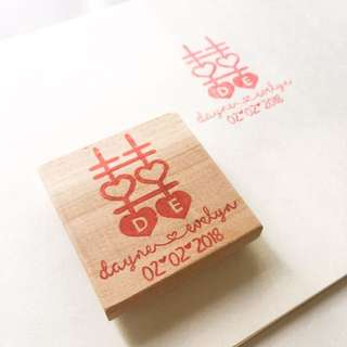 Handmade Customised Wedding Stamp Save The Date Double Happiness