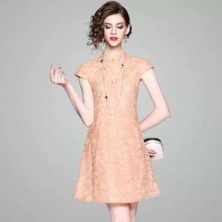 Floral lace loose waist shift modern cheongsam qipao cotton dress