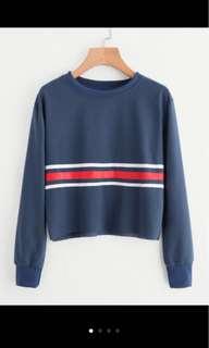 PO: raw hem striped sweatshirt