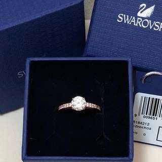 全新原裝禮盒 $990 Swarovski Rose Gold plated crystal round ring~ Size 52 施華洛世奇玫瑰金水晶戒指