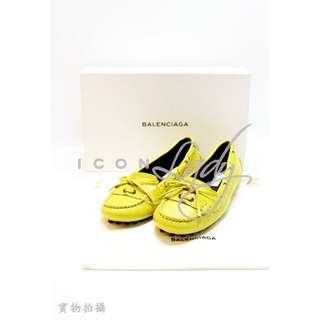 BALENCIAGA 340961 Jaune Poissin 黃色皮革 豆豆鞋 平底鞋