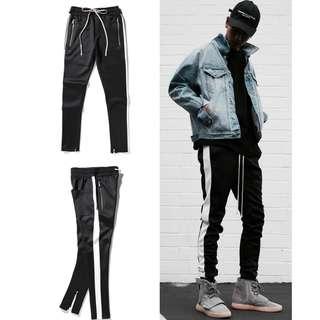 FEAR OF GOD FOG Side Stripe Track Pants Black White Jogger