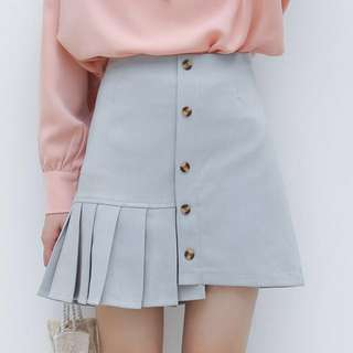 Pleated Button down A Line Skirt; bottoms; ulzzang Korean kpop; female woman women ladies girl lady; office work formal smart casual