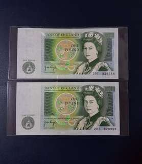 🇬🇧 *UNC* 1970-1977 England £1 Pound Banknote 2pcs Running S/N