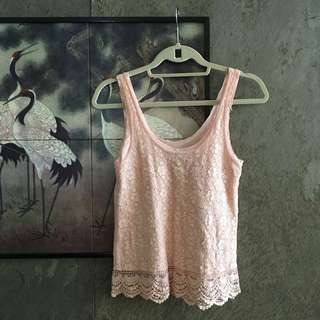 American Eagle Outfitters Pink Lace Sleeveless Top