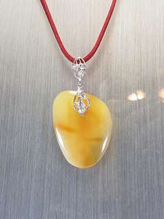 Butter Amber pendant set with 925 silver [Natural Crystal]