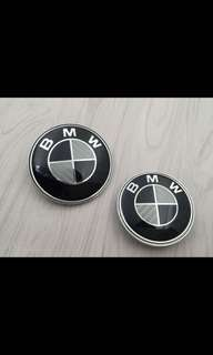BMW carbon fiber B&W 68mm wheel emblem 4pcs