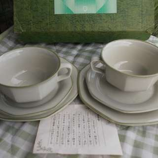 Microwave Safe Coffee Cup and Saucer and Cake plate Set