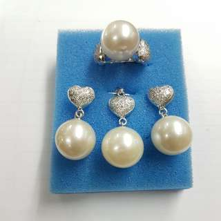 Heart Southsea pearl set with pendant (14k)