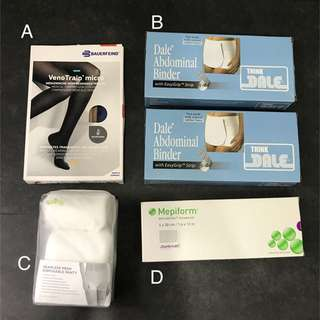 Csect mums - binder, compression socks, silicon dressing, mesh disposable panty