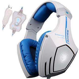 SADES A60(White) 7.1 Surround+Vibration Gaming Headset with Mic