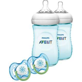 Avent Natural 9oz with 2 pacifiers TEAL/PURPLE