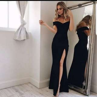 Elegant Off Shoulder Black Dinner Dress