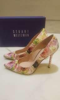 Stuart Weitzman floral Phyton leather heels
