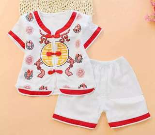 Chinese Traditional Costume Red White Shorts Set