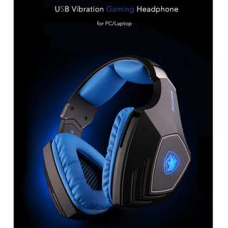 SADES A60(Black Blue) Super Bass 7.1 Surround Sound Vibration Pro USB only Gaming Headset with Mic