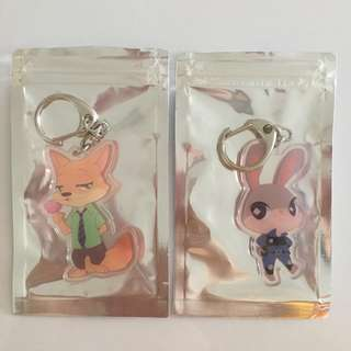 Zootopia Nick and Judy keychains