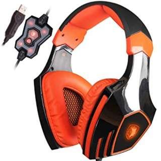 SADES A60 (Orange) Super Bass 7.1 Surround Sound Vibration Pro Gaming Headset with Mic