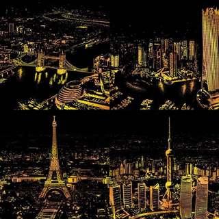 城市夜景刮刮畫
