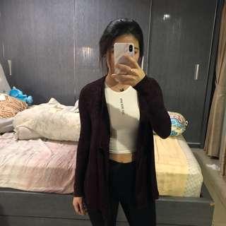 maroon cardigan