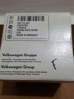 Original Volkswagen Oil Filter Element