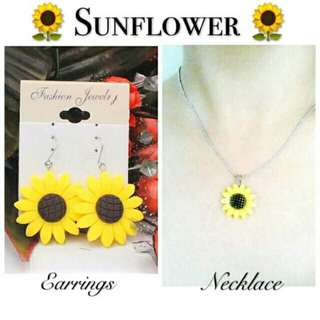 Sunflower Necklace and Earrings