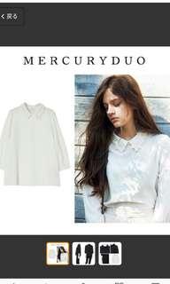 《特》mercuryduo深藍色7分袖花領襯衫
