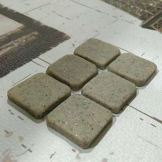 Sparkly, miniature, grey stone, square tile decoration made from polymer clay #Bajet20
