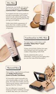 Mary Kay liquid foundation suits diff skin type matte or luminous