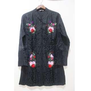 Black Floral Silk Shirt