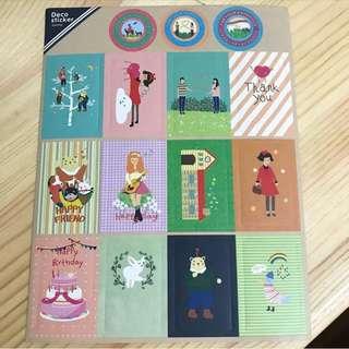 韓國手繪風女生日常裝飾貼紙 Korean girls stickers