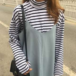 Ulzzang turtleneck striped top