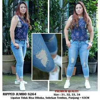 Celana jeans wanita jumbo 8264 Jeans jumbo jeans sobek jumbo jeans big