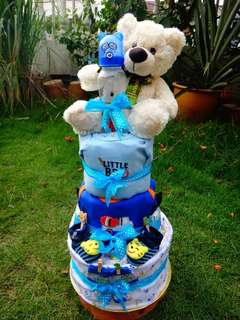 Diaper Cake for Baby Boy - 3 Tiers