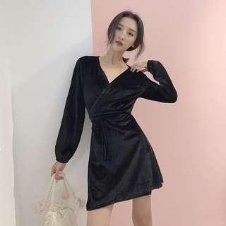 PO V Neck Velvet Long Sleeve Dress 2 Colours
