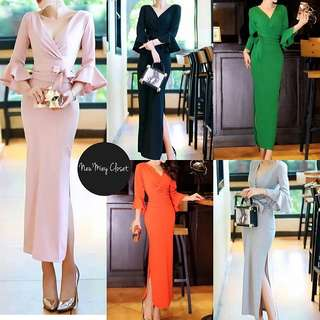 V neck long slit midi maxi long dress